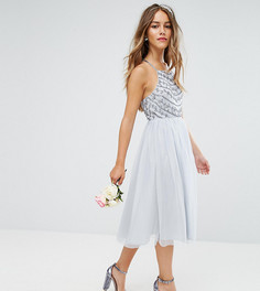 Платье миди с бисерной отделкой ASOS PETITE WEDDING - Серый