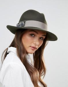 Фетровая шляпа со стразами Vixen - Зеленый