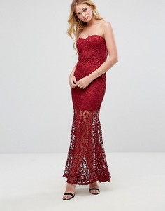 Кружевное платье-бандо макси Liquorish - Красный