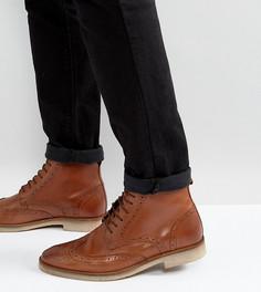 Светло-коричневые кожаные ботинки-броги для широкой стопы со шнуровкой ASOS - Рыжий