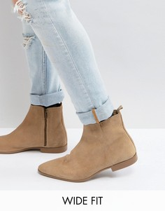 Светло-бежевые замшевые ботинки челси для широкой стопы ASOS - Светло-бежевый