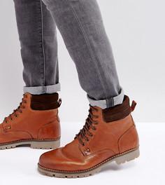 Светло-коричневые кожаные ботинки на шнуровке для широкой стопы ASOS - Рыжий