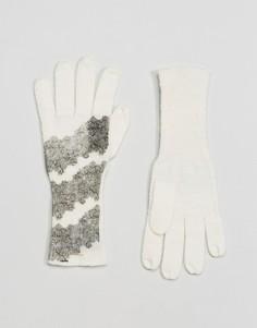 Перчатки с кружевным принтом Alice Hannah - Кремовый