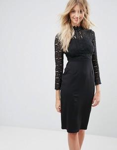 Платье миди с кружевным топом и воротником-стойкой Club L - Черный