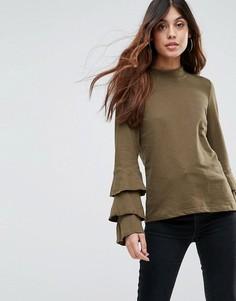 Топ с оборками на рукавах Vero Moda - Зеленый