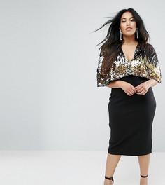 Платье миди с топом с пайетками Club L Plus - Черный