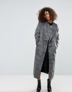 Длинное пальто в клетку Monki - Мульти