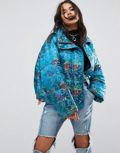 Дутая куртка с жаккардовой отделкой ASOS - Мульти