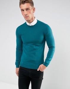 Сине-зеленый узкий джемпер из мериносовой шерсти ASOS - Зеленый