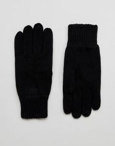 Черные перчатки Selected Homme Leth - Черный