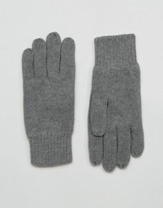 Серые перчатки Selected Homme Leth - Серый
