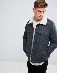 Темно-серая куртка с подкладкой из искусственного меха Hollister - Серый