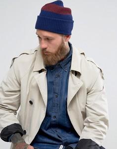 Темно-синяя шапка-бини из овечьей шерсти с двумя полосками PS by Paul Smith - Темно-синий