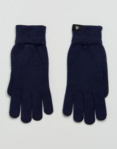 Темно-синие перчатки из мериносовой шерсти PS by Paul Smith - Темно-синий