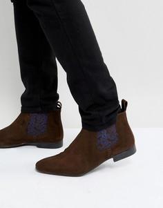 Коричневые замшевые ботинки челси с принтом пейсли Silver Street - Коричневый
