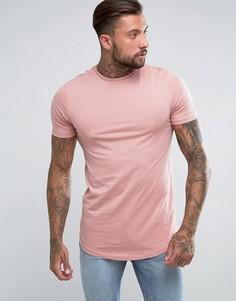 Длинная розовая футболка с асимметричным краем River Island - Розовый