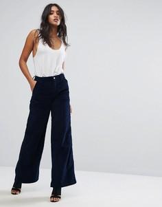 Широкие вельветовые брюки с завышенной талией G-Star - Синий