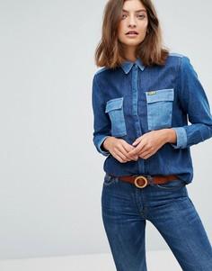 Рубашка в стиле вестерн с контрастными вставками Wrangler x Peter Max - Синий