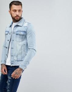Джинсовая куртка с рваной отделкой Another Influence - Синий