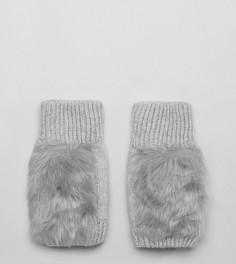 Серые перчатки с отделкой из искусственного меха My Accessories - Серый