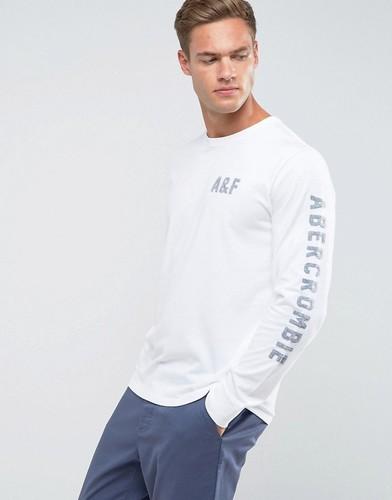 Белый лонгслив с принтом Abercrombie & Fitch - Белый