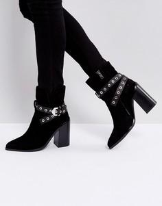 Черные замшевые полусапожки на каблуке Sol Sana Tessa - Черный