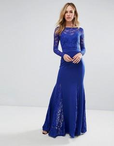 Платье макси с юбкой годе и кружевной отделкой City Goddess - Синий