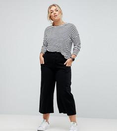 Черные брюки с завышенной талией ASOS CURVE TIONNE - Черный