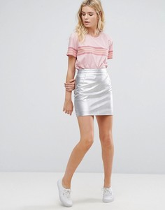 Серебристая мини-юбка из полиуретана Pepe Jeans - Серебряный