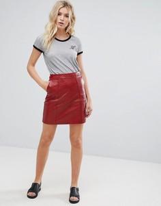 Мини-юбка из искусственной кожи Pepe Jeans Berta - Красный