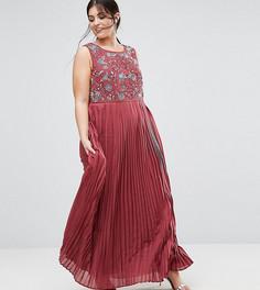 Декорированное платье макси с плиссировкой Lovedrobe Luxe - Розовый