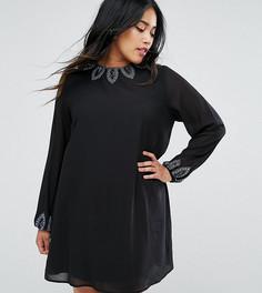 Платье-туника с декоративной отделкой Lovedrobe Luxe - Черный