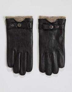 Кожаные перчатки с шерстяными манжетами Peter Werth - Черный