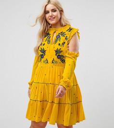 Бархатное свободное платье с открытыми плечами и цветочной вышивкой Frock And Frill Plus - Желтый