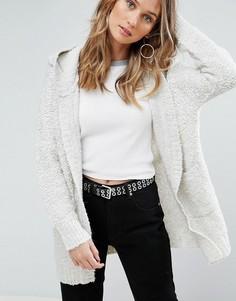 Кардиган с капюшоном из смеси шерсти альпака Pepe Jeans Rizzo - Серый