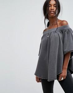 Блузка с открытыми плечами Free People - Черный