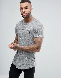 Облегающая футболка в рубчик с асимметричным краем Ascend - Серый