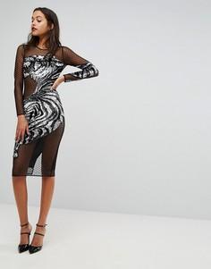 Декорированное облегающее платье с тигровым рисунком ASOS - Черный