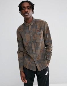 Вельветовая рубашка классического кроя с винтажным принтом ASOS - Коричневый