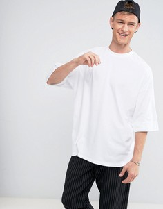 Оверсайз-футболка с широкими отворотами на рукавах ASOS - Белый