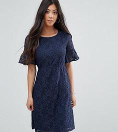 Кружевное короткое приталенное платье Yumi Petite - Темно-синий