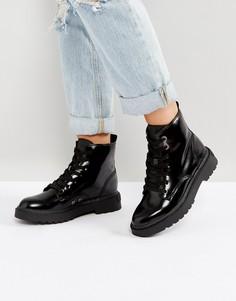 Черные кожаные ботильоны на плоской подошве Calvin Klein Annie - Черный