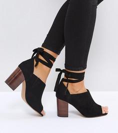 Туфли на каблуке для широкой стопы с завязками ASOS OMEN - Черный 7b99fb0fc3d7a