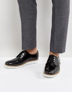 Черные кожаные дерби на шнуровке с белой подошвой ASOS - Черный