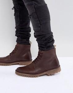 Коричневые кожаные ботинки на шнуровке ASOS - Коричневый