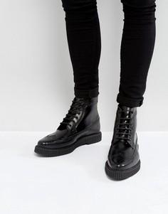 Черные кожаные ботинки броги с толстой подошвой ASOS - Черный