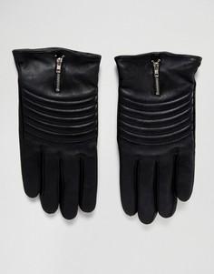 Кожаные байкерские перчатки Boardmans - Черный