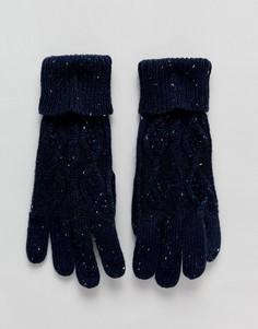 Вязаные перчатки с узором косичка Boardmans Tom - Синий