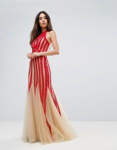 Платье с халтером, вырезом-капелькой и пайетками Forever Unique - Красный