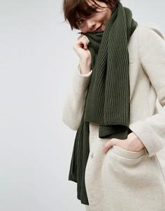 Длинный шарф в рубчик из переработанного полиэстера ASOS - Зеленый